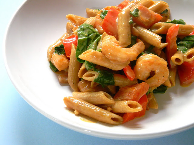 Shrimp Pasta with Peanut Sauce