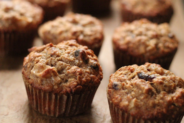 Banana, apple and oatmeal muffins