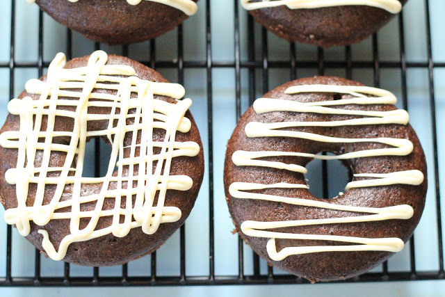 Triple chocolate wholegrain baked donuts