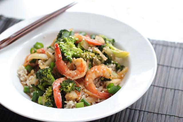 Sesame shrimp with broccoli