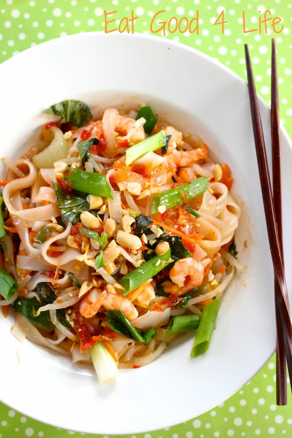 Drunken noodles with shrimp Eatgood4life.com