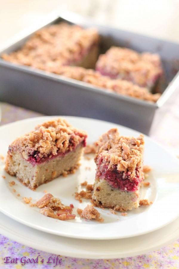 Gluten free almond and raspeberry coffeec cake