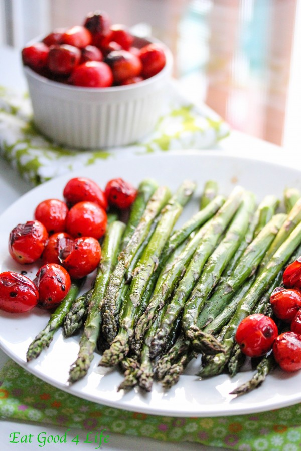 Roasted asparagus with balsamic tomatoes