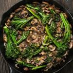 broccolini and mushroom stir-fry
