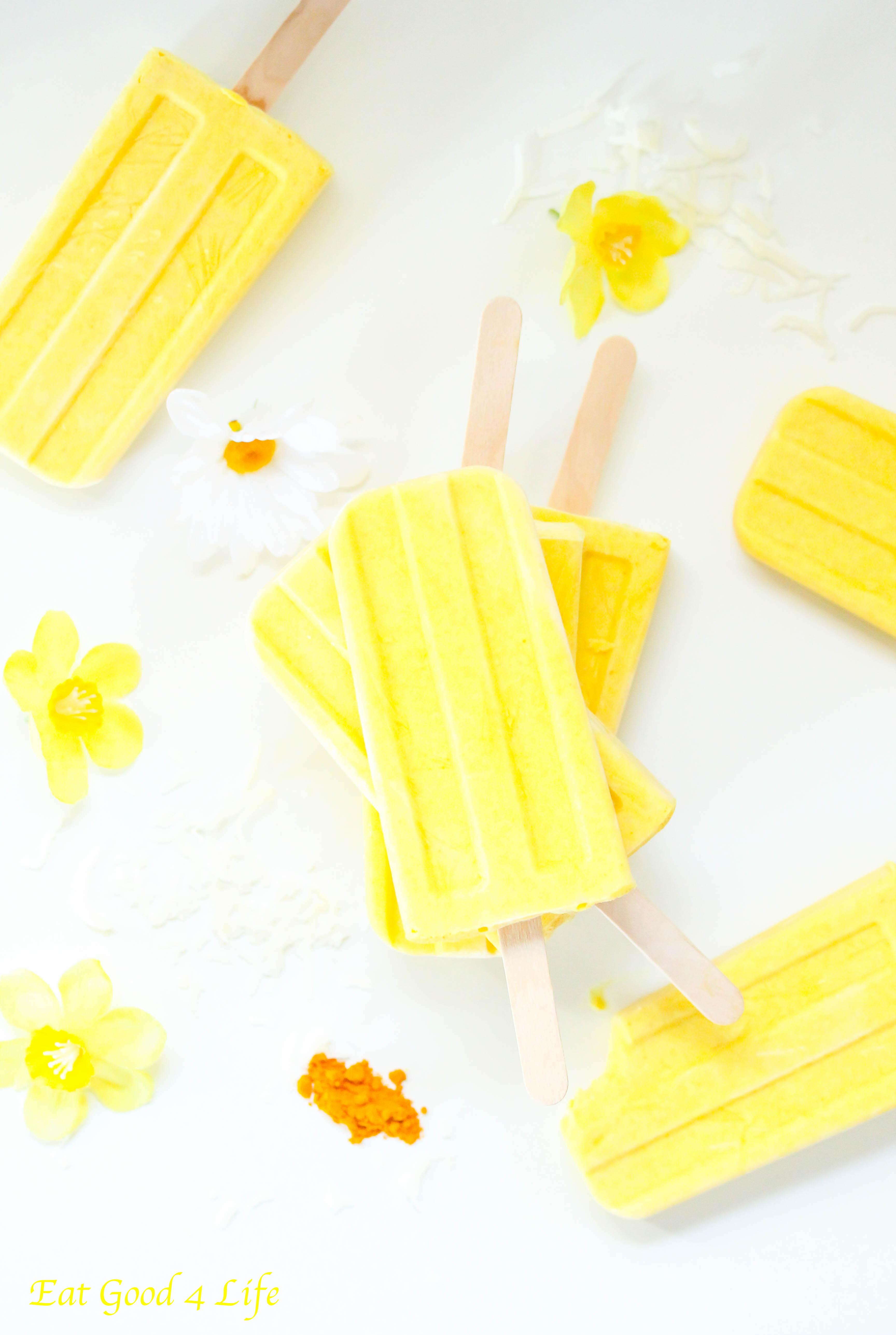 lemon and coconut popsicles