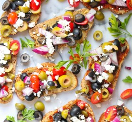 Mixed olive bruschetta