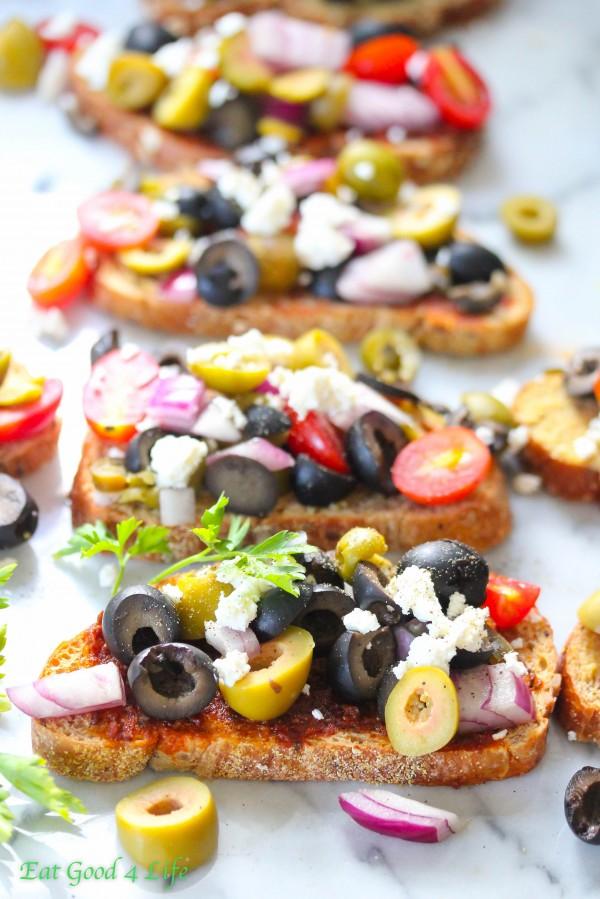 Mixed olive bruschetta