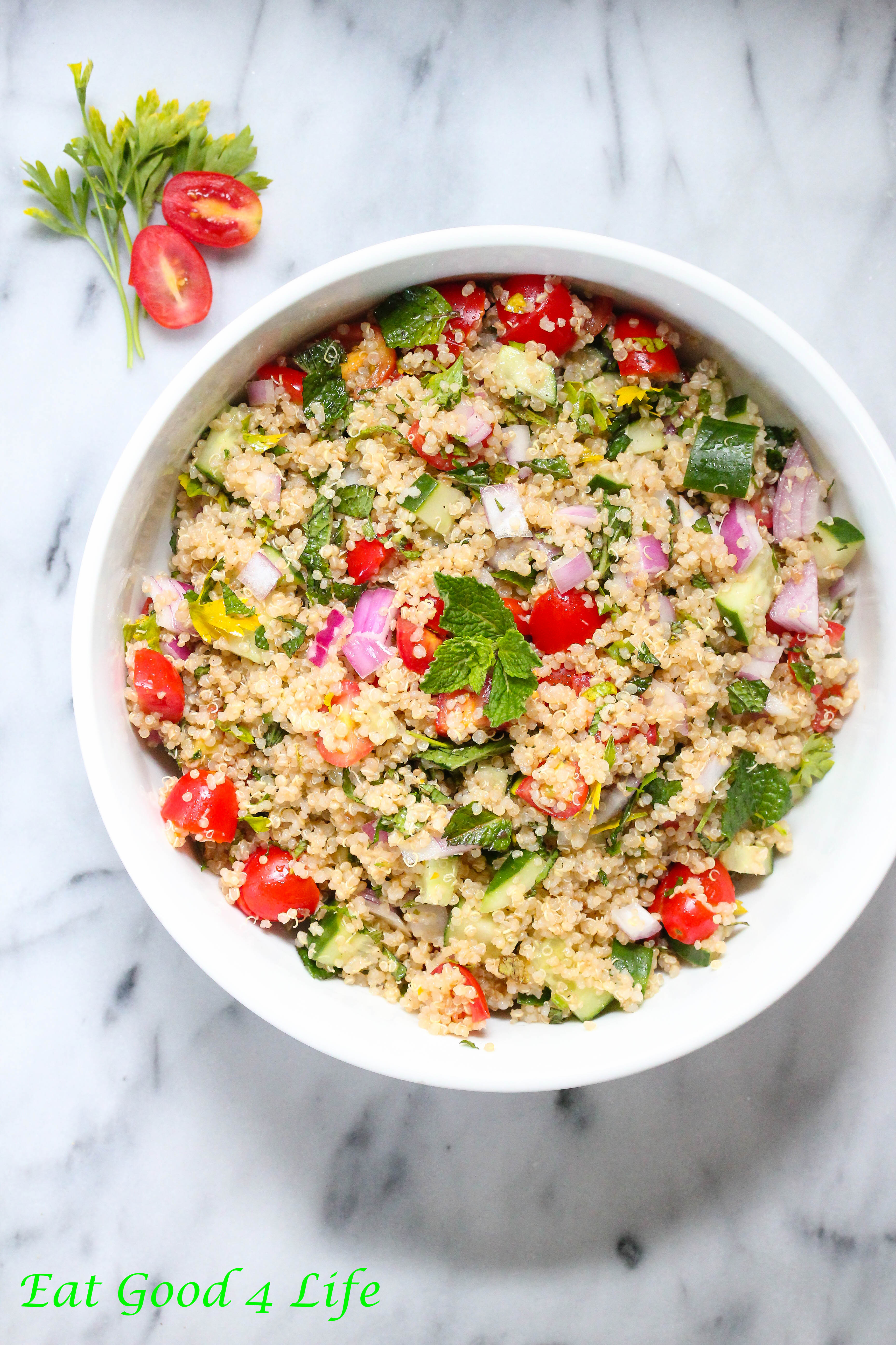you used quinoa for making salads before? This quinoa tabbouleh salad ...