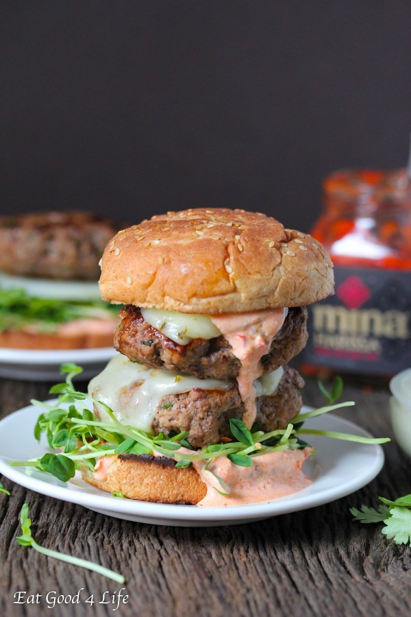 Harissa grass fed beef burgers