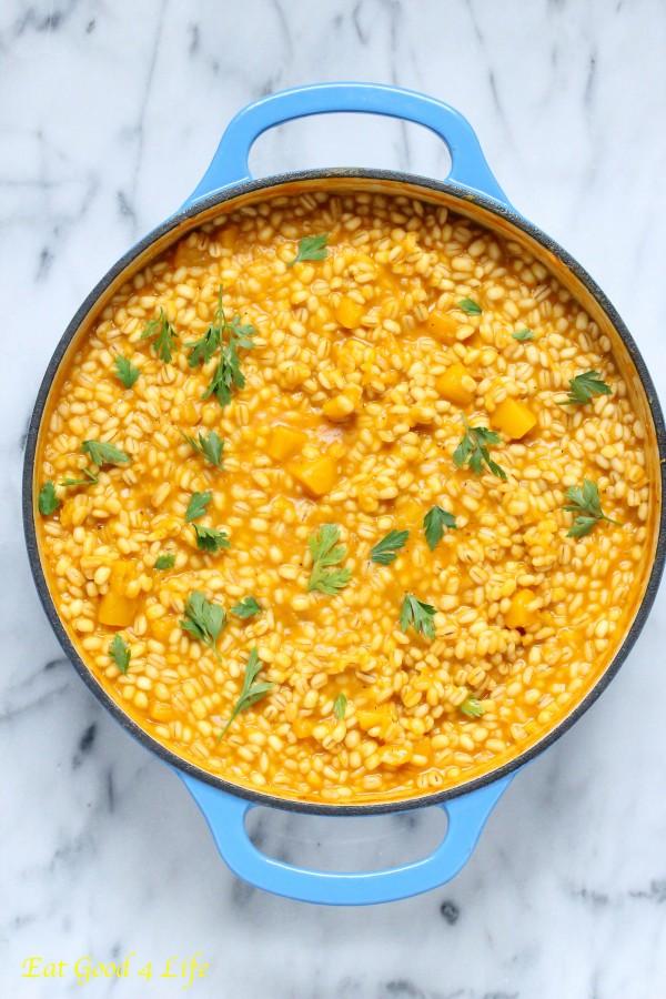 Pumpkin barley risotto