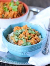 Slow cooker lentil curry. Gluten free and vegan. Super easy to put together and only