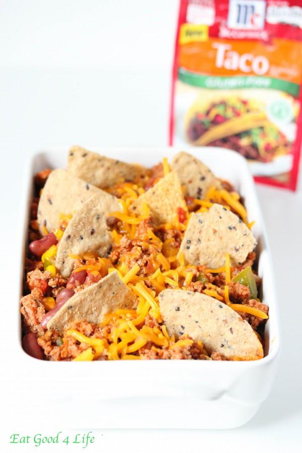 Gluten free turkey taco casserole done in just 20 minutes.