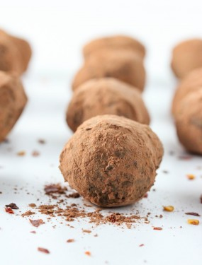 chili chocolate truffles. They can be vegan by using coconut milk and vegan chocolate.