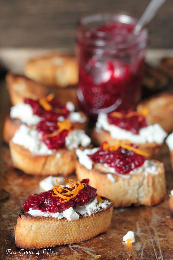 Eat Good 4 Life Goat cheese and chia cranberry crostini
