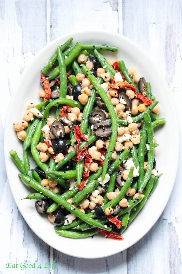Green bean chickpea tomato salad. Gluten free.