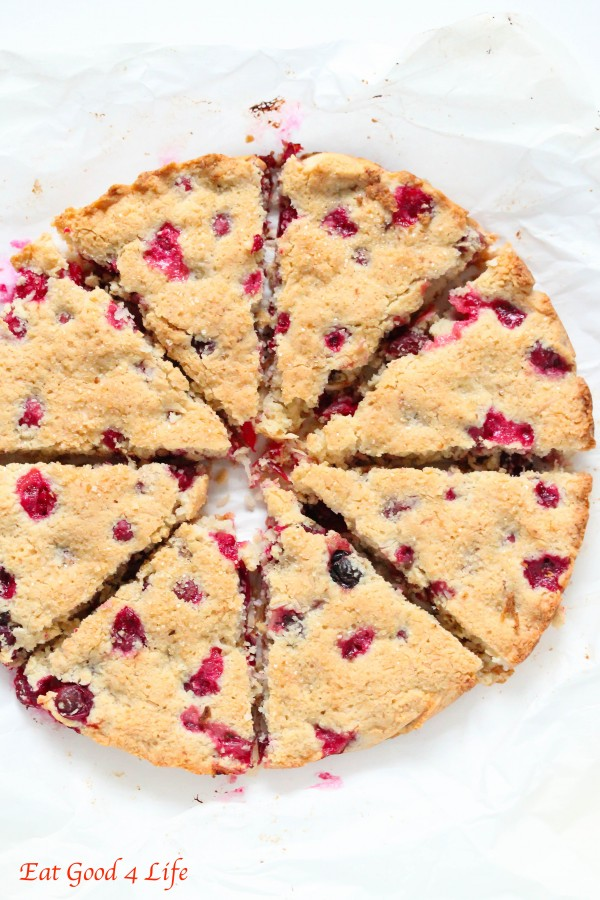Gluten free cranberry and coconut scones