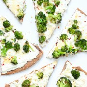 whole wheat white broccoli pizza