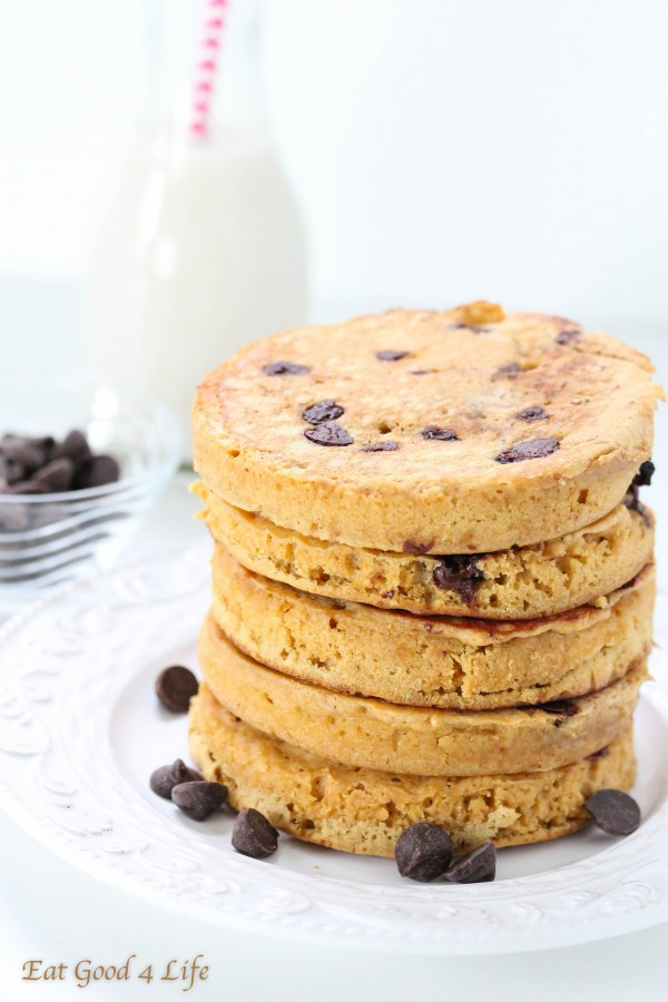 ... whole wheat chocolate chip pancakes for after school and they were