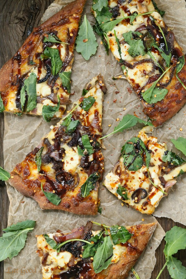 Caramelized Onion, Kale, Goat Cheese Pizza with Balsamic Drizzle