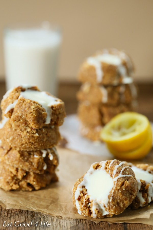 No bake gluten free vegan lemon thumbprint cookies | Eat Good 4 Life