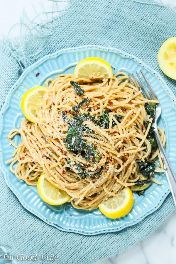 lemon kale whole wheat pasta