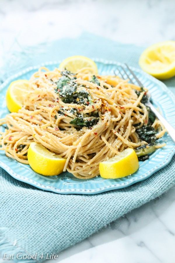 lemon kale whole wheat pasta