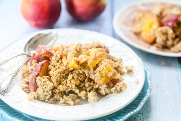 Gluten-free vegan peach crisp | Eat Good 4 Life