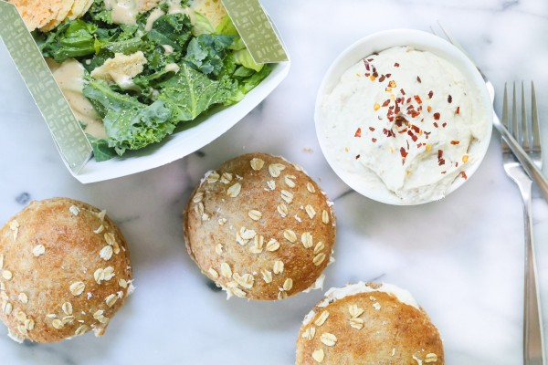 I normally serve this tuna cream cheese spread with crusty bread. In this case I used Panera's sprouted whole grain roll, which was the perfect size especially for my kids.  I also tend to serve sandwiches with a salad to add some vegetables to the meal and make it more complete. In this case I served the sandwich with the Power Kale Caesar Salad with Chicken from Panera.