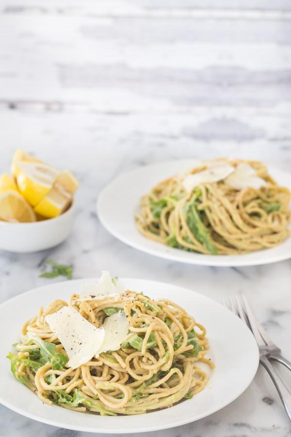 Creamy avocado arugula pasta