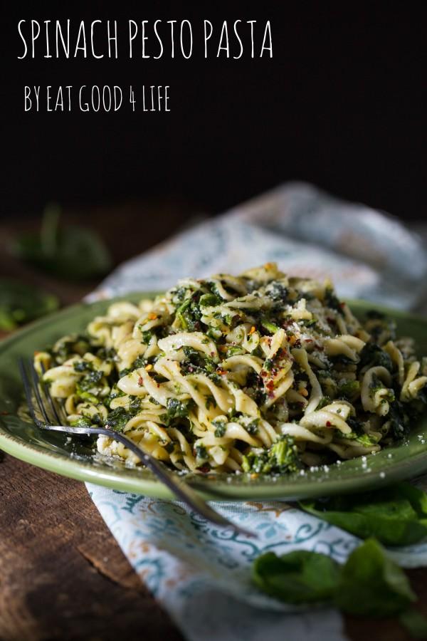 gluten free spinach pesto pasta   Eat Good 4 Life