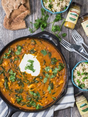 Chicken curry and spinach with coconut lime rice | Eat Good 4 Life