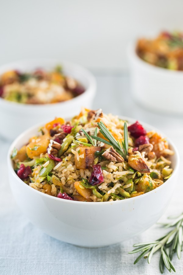 Brown rice butternut squash brussel sprouts pilaf | Eat Good 4 Life
