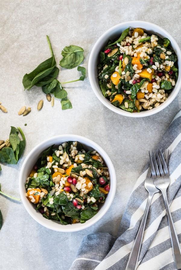 Butternut squash barley salad