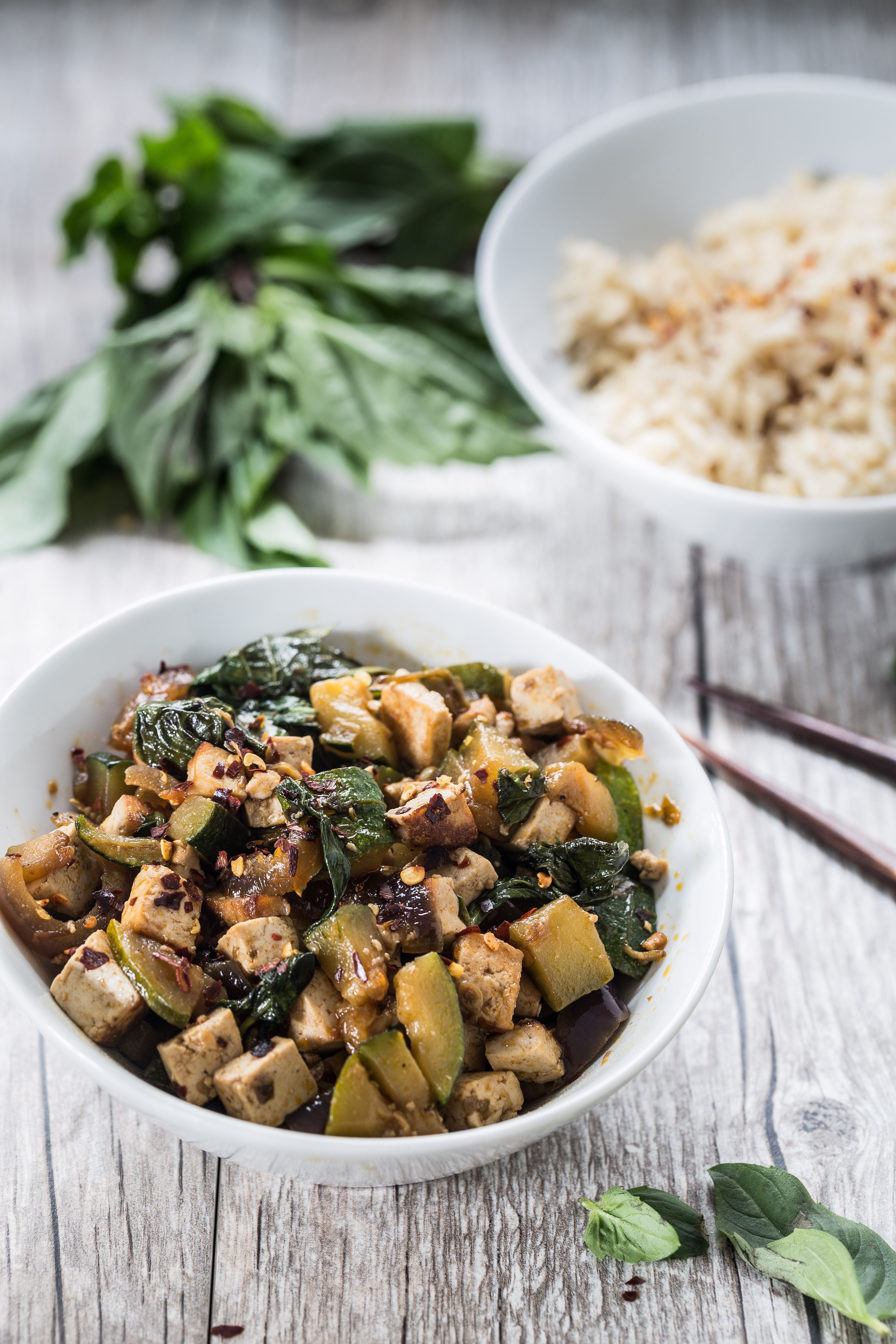 Thai basil tofu with zucchini