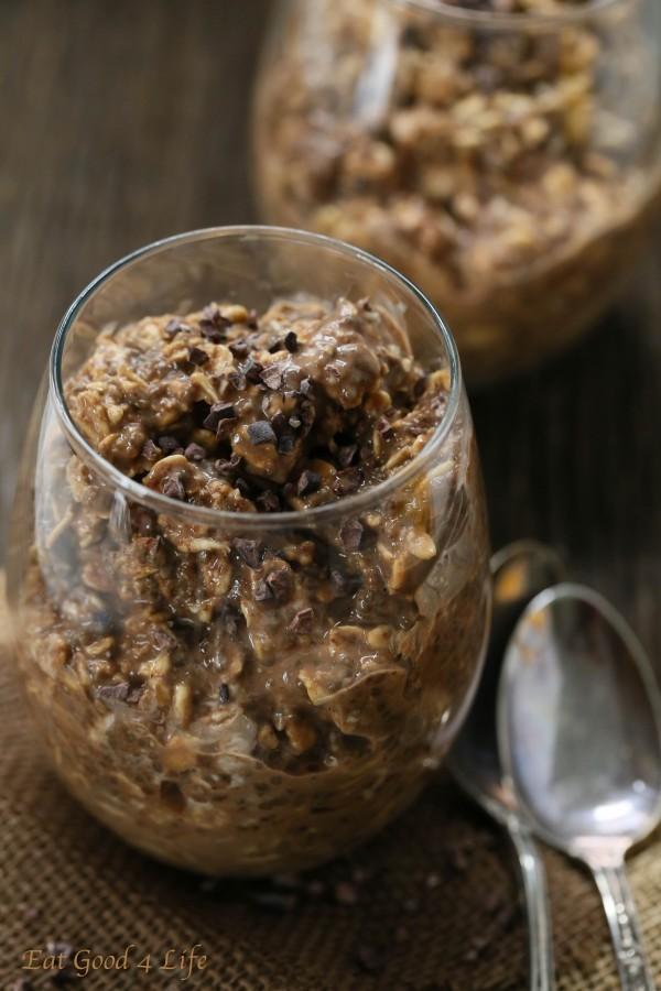 Almond butter chocolate overnight oats | Eat Good 4 Life