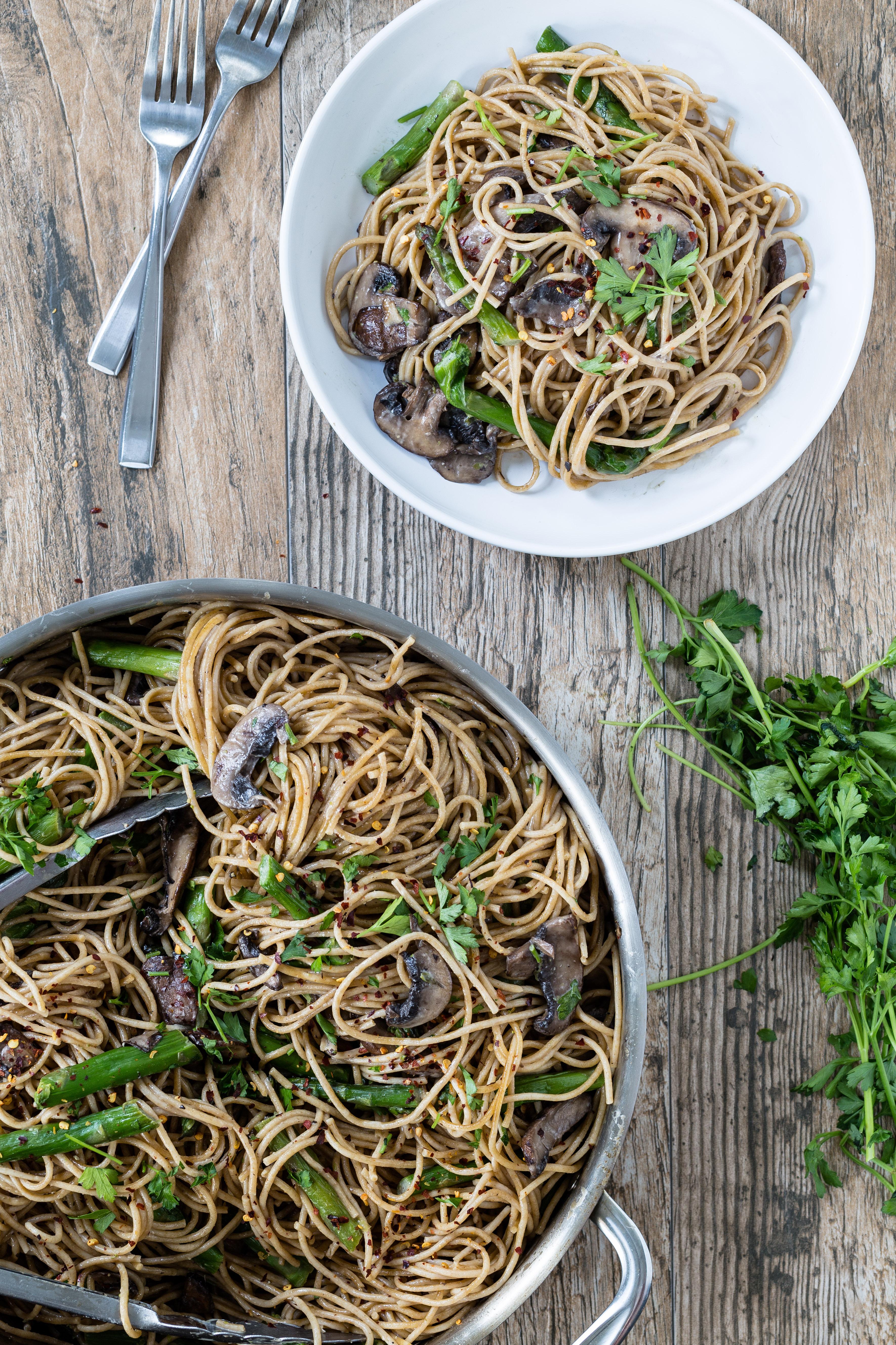 Mushroom and asparagus marsala pasta