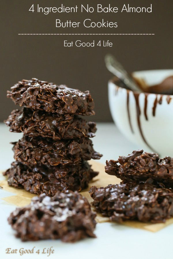 No bake 4 ingredient almond butter chocolate cookies | Eat Good 4 Life