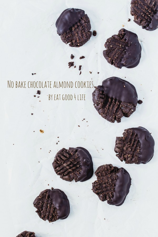No bake gluten free vegan chocolate almond cookies | Eat Good 4 Life