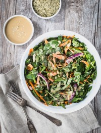 Fresh spinach salad with tahini dressing | Eat Good 4 Life