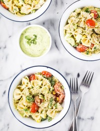 pasta salad with yogurt cilantro avocado dressing | Eat Good 4 Life