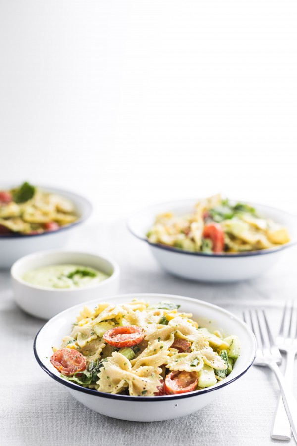 pasta salad with yogurt cilantro avocado dressing | Eat Good 4 Life