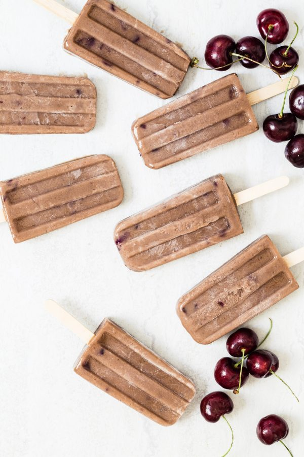Chocolate cherry protein popsicles   Eat Good 4 Life