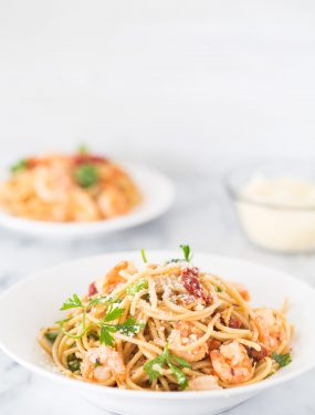 Shrimp scampi pasta with sun dried tomatoes | Eat Good 4 Life