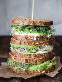 Avocado, cucumber, goat cheese sandwich
