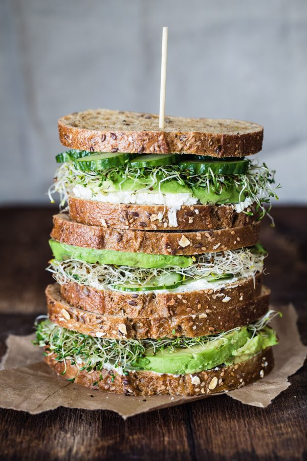 Avocado, Cucumber, Goat Cheese Sandwich