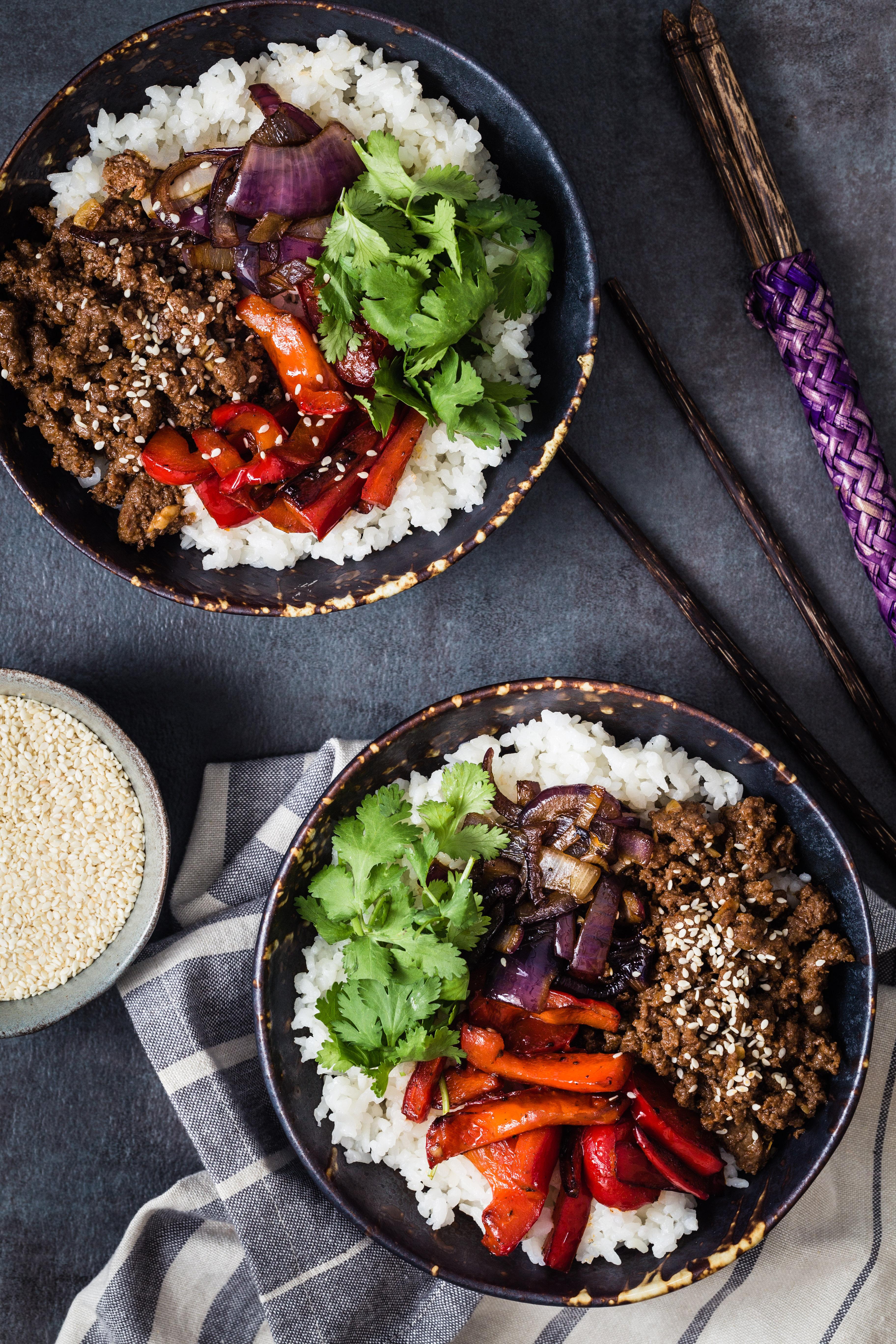 Asian beef rice bowl