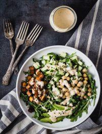 Caramelized tofu arugula salad with tahini dressing | Eat Good 4 Life