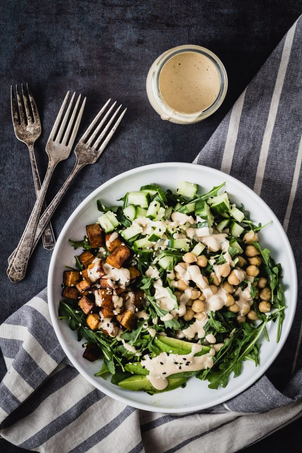 Caramelized tofu arugula salad with tahini dressing | Eat Good 4 Life