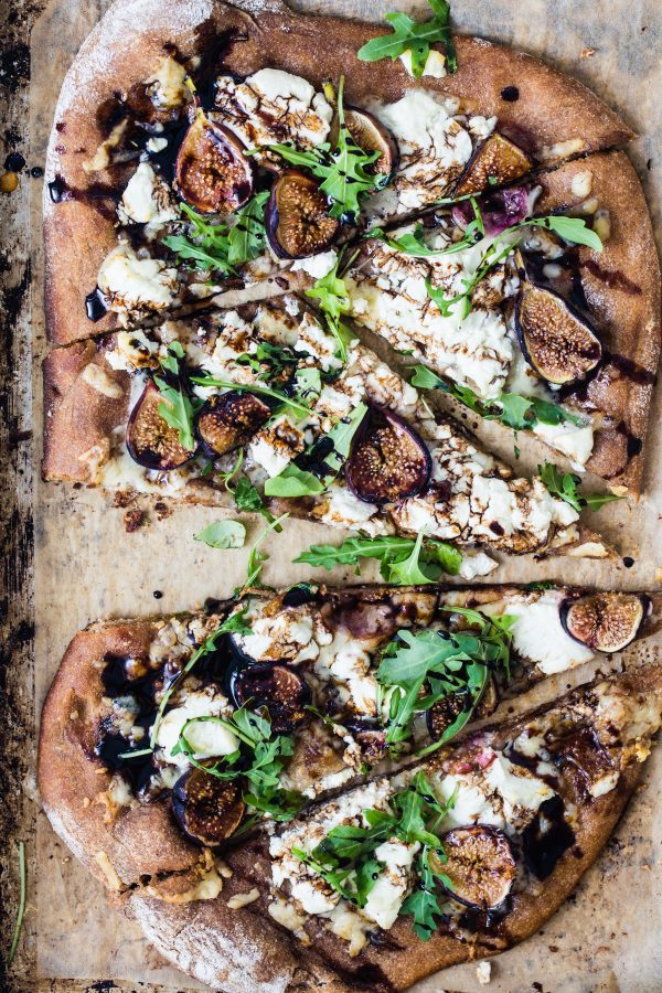 Whole Wheat Goat cheese fig arugula pizza | Eat Good 4 Life