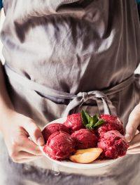 raspberry peach lemonade sorbet | Eat Good 4 Life